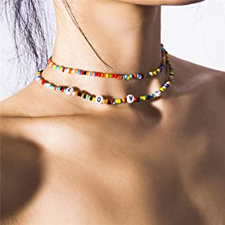 Clairy Boho Layered Choker Necklace Beads Necklace Chain Love Multi-color Necklaces Jewelry for Women and Girls