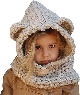 Baby Girls Boys Winter Hat Scarf Earflap Hood Scarves Caps (Beige Kids Hats for 2-8 Years)