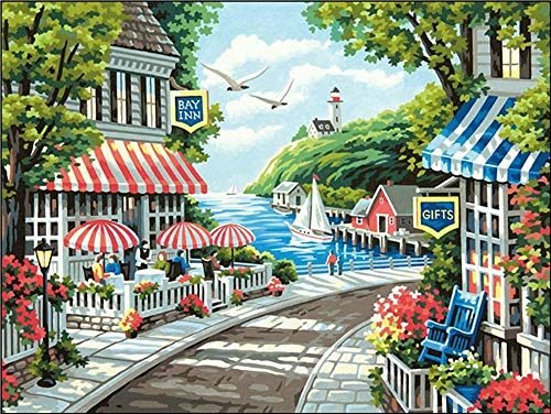 Manual DIY 5D Diamond Painting by Number Kits, Crystal Rhinestone Embroidery Paint with Diamonds, Indoor Wall Decoration Gifts Arts and Crafts The Seaside Scenery