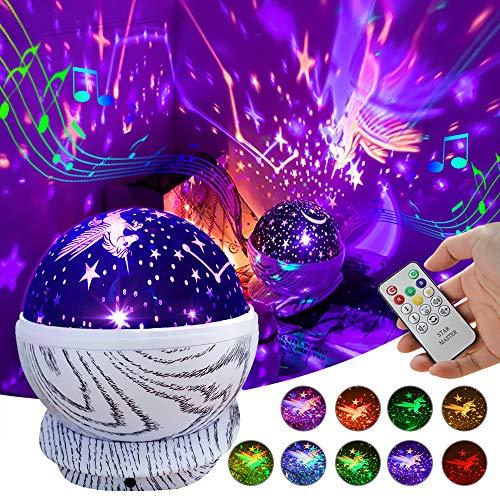 Veilleuse bébé Night Light Projector Rechargeable Kids Licorne Star Lampe de projecteur Led rotative avec télécommande, 8 musiques et 10 couleurs, jouets pour garçons de filles de 3 à 12 ans
