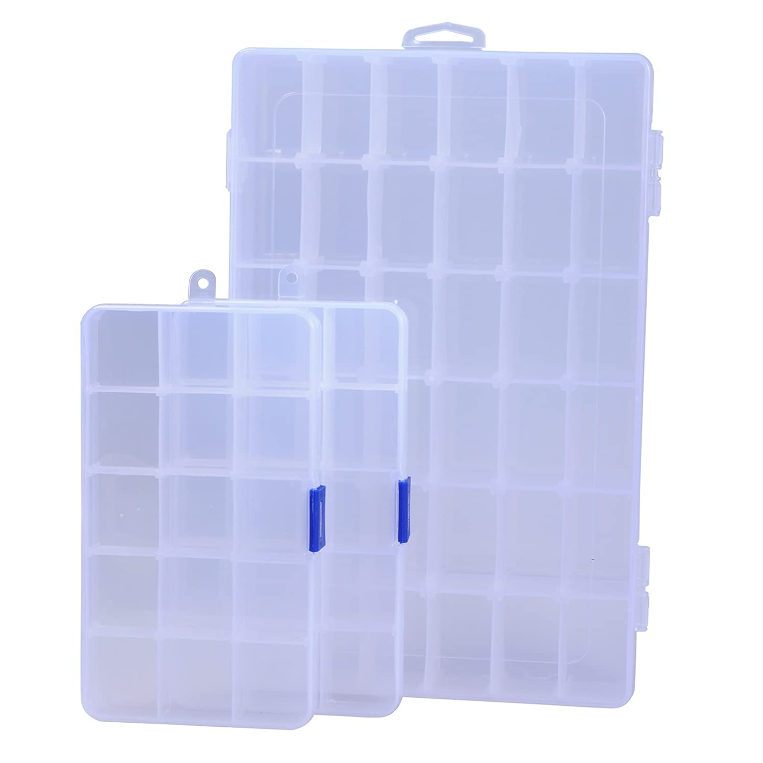 ECROCY Plastic Jewelry Box Organizer, Storage Container with Adjustable Divider Removable Grid Compartment - 3 Pack(1pc 36 Grids and 2pc 15 Grids)