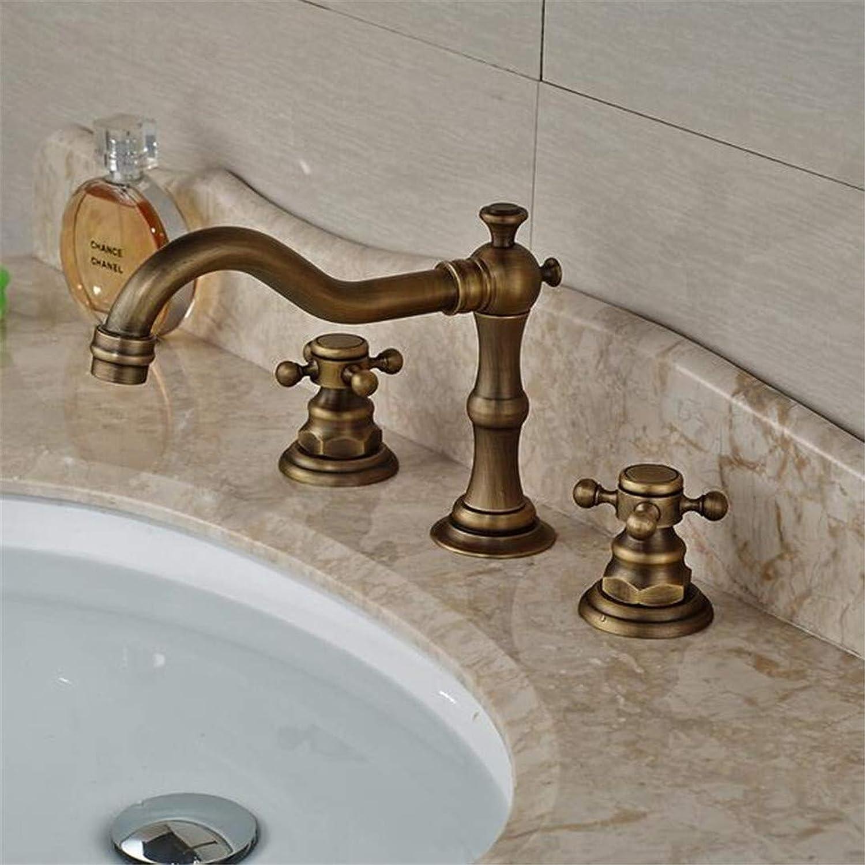 Basin Faucet Bathroom Sink Tap Brass Antique Basin Mixer Taps Deck Mount Bathroom Hot Cold Water Faucet Dual Cross Handles