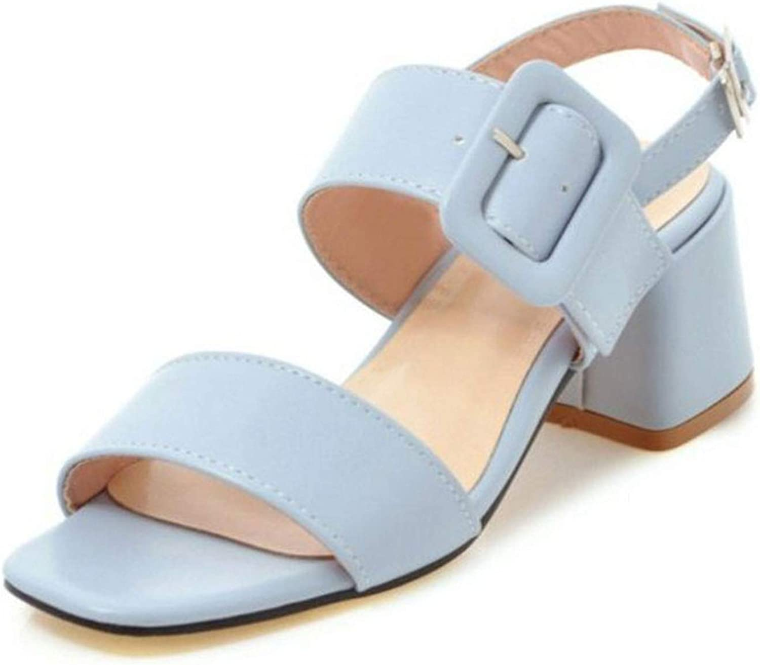 Office Lady High Heel Sandals Metal Buckle Open TPE Thick Heel Sandals shoes Women's Footwear