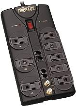 Tripp Lite 8 Outlet Surge Protector Power Strip, 10ft Cord, Right-Angle Plug, Tel/Modem/Coax/Ethernet Protection, RJ11, RJ45, & $250,000 INSURANCE (TLP810NET)
