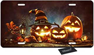 WONDERTIFY Candle lit Halloween Pumpkins License Plate,Jack o Lantern Spooky Face on Wood Table Decorative Car Front Licen...