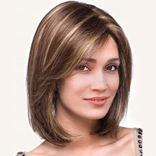 Beauenty Brown Short Bob Wigs Synthetic Straight Hair Wigs For Women Colorful Light Brown Wig Natural Looking Heat Resista...