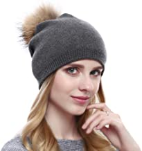 VEMOLLA Ladies Knitted Crystal Winter Bobble Wool Beanie Hat Cap with Detachable Fur Pompom for Women Grey