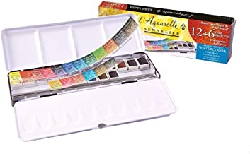 Sennelier L'Aquarelle French Honey Based Watercolor Paint, Metal Set of 18 (12 plus 6) Half Pans - Beautiful Colors For Artists To Add To Their Art Supplies