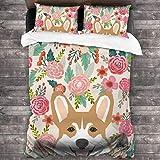 Set di biancheria da letto in 3 pezzi, per letto king size, 1 copripiumino, 2 federe per cuscini, motivo floreale, motivo floreale, primaverile, estate
