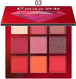 Missoul Waterproof Eyeshadow Palette, Matte and Shimmer 9 Colors Eyeshadow Long Lasting Professional Super Pigmented Natural Nudes Smokey Cosmetic Eye Shadow Powder (Red)