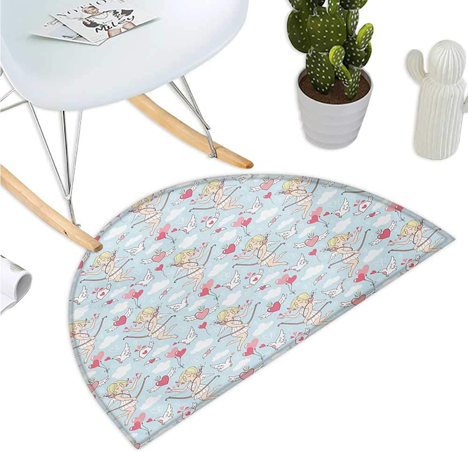 Angel Semicircular Cushion Cupid Girls Winged Hearts Flying in The Sky Doves Clouds Happiness Entry Door Mat H 39.3  xD 59  bluesh Coral Baby bluee White