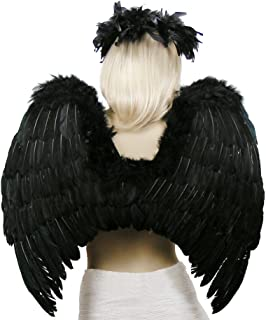 (TM Black Fallen Angel Costume Feather Wings Halo Mask Set
