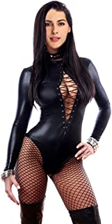 1679438b7 FASHION QUEEN Women s Sexy Lace-up Front Bodysuit Leather Teddy Lingerie  Long Sleeve