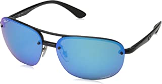 RAY-BAN Men's RB4275CH Chromance Mirrored Square Sunglasses, Black/Polarized Blue Mirror, 63 mm