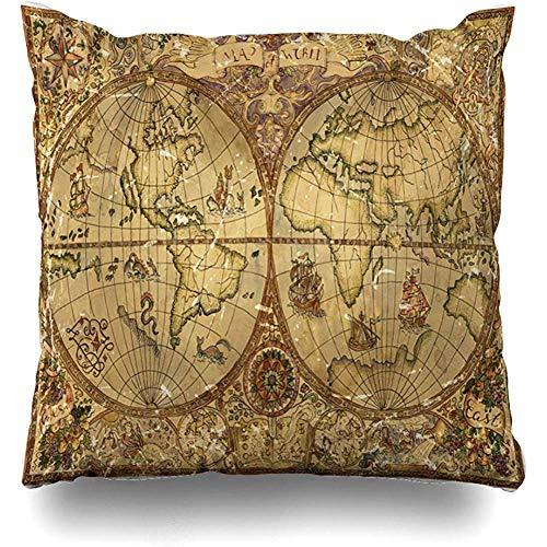 Bue Time Fundas Cojines Mapa Atlas Mundo Antiguo Pergamino