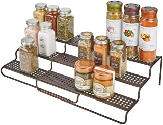 "mDesign Adjustable, Expandable Kitchen Wire Metal Storage Cabinet, Cupboard, Food Pantry, Shelf Organizer Spice Bottle Rack Holder - 3 Level Storage - Up to 25"" Wide - Bronze"