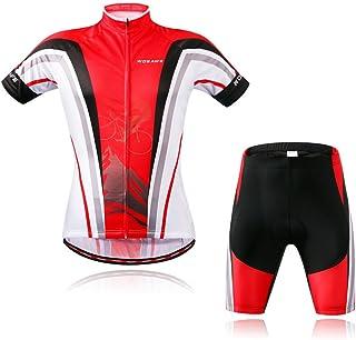 Wosawe playera de ciclismo para hombre para bicicleta ciclo Jersey de manga corta camisas Tops, transpirable y cómodo 4d acolchado Shorts Medias Pantalones Ropa de Deporte Suit Set transpirable de secado rápido