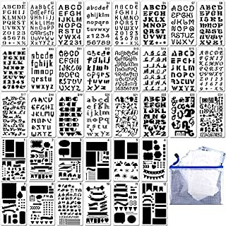36PCs Letter and Number Stencils DIY Drawing Templates Bullet Journal Stencils with A Storage Bag for Notebook, Diary, Scr...