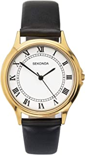 Sekonda Classic Mens Analogue Quartz Watch with White Dial and Black Leather Strap 1531