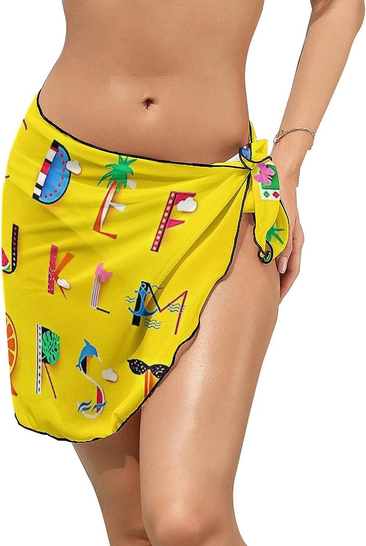 JINJUELS Women Beach Wrap Sarong Cover Up Summer Cute Alphabet Sexy Short Sheer Bikini Wraps