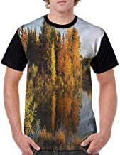 Teen t-Shirt,Fallen Leaves and Hills Fashion Personality Customization