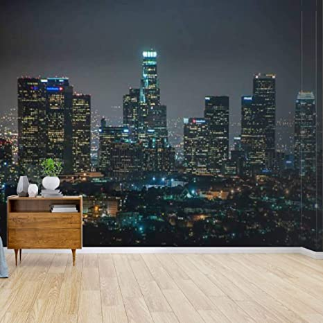 Amazon Com Wall Mural Night View Of Downtown Los Angeles California United States Window Peel And Stick Wallpaper Self Adhesive Wallpaper Large Wall Sticker Removable Vinyl Film Roll Shelf Paper Home Decor Kitchen