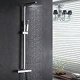 Homelody Duschsystem inkl. Thermostat Duscharmatur Überkopfbrause Regendusche Handbrause Regenbrause mit Duschpaneel