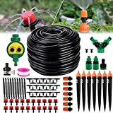 Drip Irrigation Kit, 82ft Automatic Micro Garden Irrigation System with Water Timer 1/4 Inches Blank Distribution Tubing...