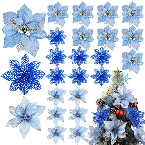 Meiliy 24 PCS Blue Glitter Poinsettia Flowers Christmas Tree Ornaments Fake Christmas Flowers Decoration Wreath Wedding Party Decor 3 Styles
