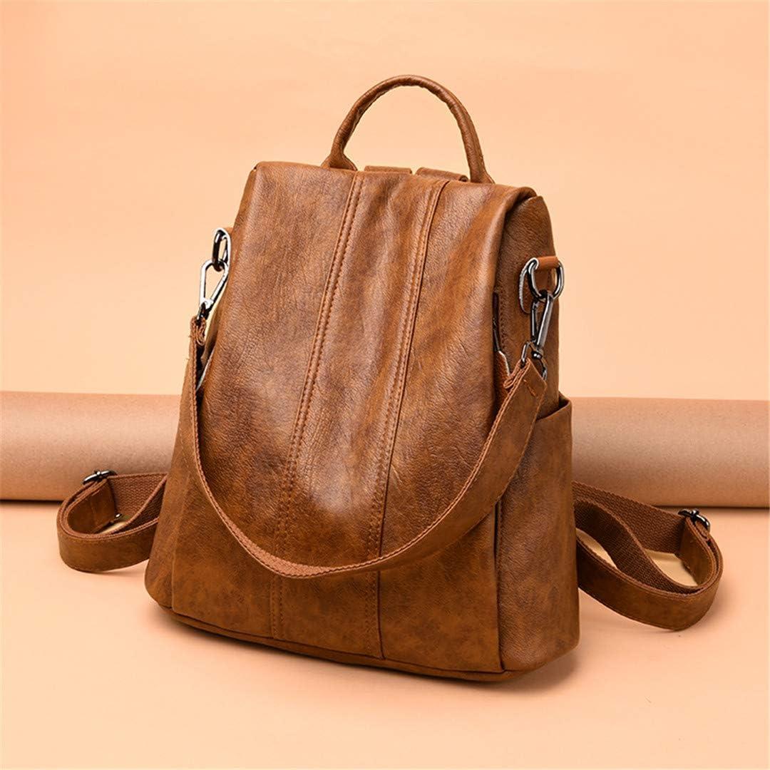 Womens Pu Leather Backpacks Female School Backpack Shoulder Bags For Teenage Girls Travel Back Brown