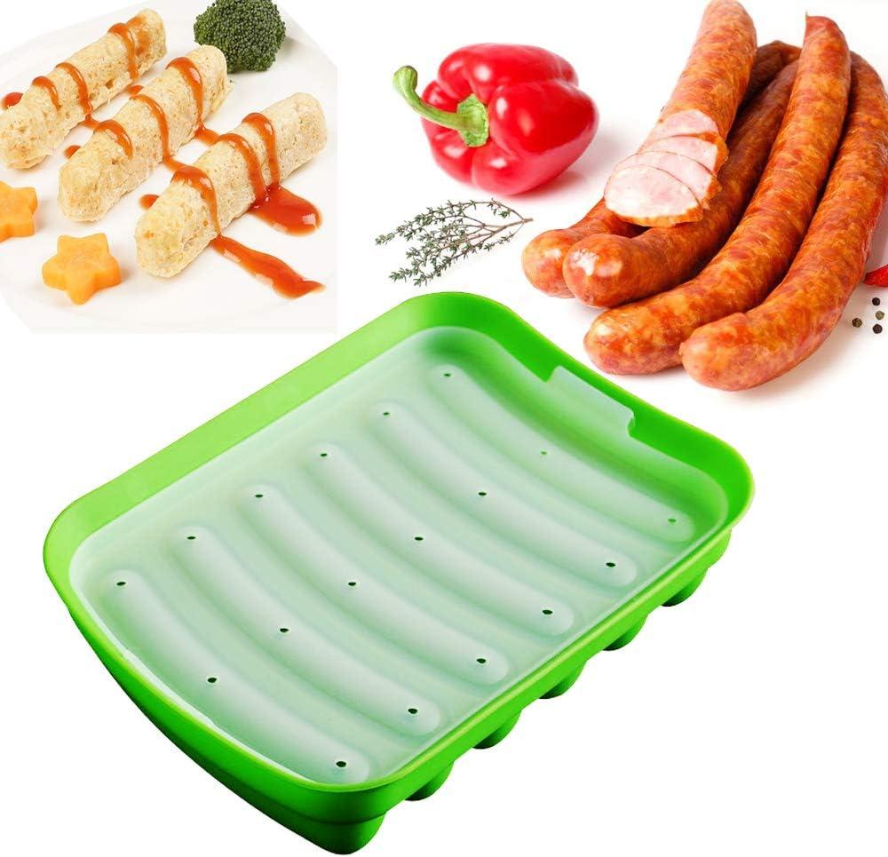 قالب سيليكون للنقانق غير لاصق، قالب الخبز للكلاب الساخنة للأطفال من أجل نقانق البيض وقالب السجق التكميلي للطفل، Lce Candy Jelly Chocolate Mould (أخضر)