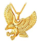 U7 Brave Man Hawk Necklace 18K Gold Plated Eagle Pendant Necklaces