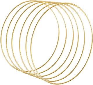 DILNAZ ART 6 Pack 12 Inch Large Metal Floral Hoop Wreath Macrame Gold Hoop Rings for DIY Wedding Wreath Decor, Dream Catch...