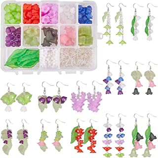 SUNNYCLUE 1 Box DIY 12 Pairs Frosted Mixed Acrylic Lily Flower Leaf Drop Dangle Earring Making Kits with 160pcs Acrylic Flower Beads & 30pcs Maple Leaf Charm Pendants & 24pcs Nick Free Earring Hooks