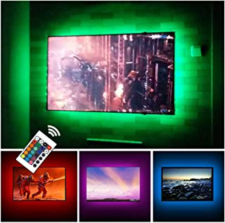 USB TV Backlight RGB LED Neon Accent Lights Strips for 32 to 43 inch HDTV Bias Lighting with Remote - USB Powered TV Behin...