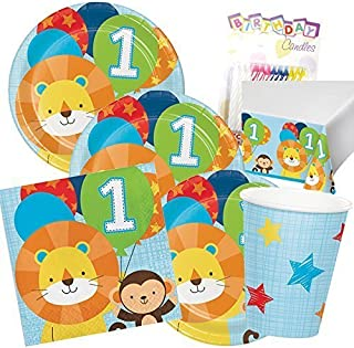 One is Fun ! Boys Birthday Theme 1st Party Supplies Pack (Serves-16) Dinner Plates, Luncheon Napkins, Cups and Table Cover - First Zoo Party Supply Tableware Set Kit Includes Birthday Candles