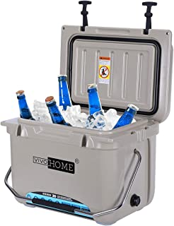 VIVOHOME 22 Quart Ice Chest, Heavy Duty Insulated Beverage Can Cooler with Carry Handle for Camping Fishing Trips, Brown