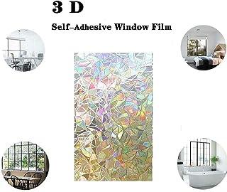 MZY1188 Film de fen/être Non adh/ésif 3D Effet Arc-en-Ciel Autocollant de confidentialit/é Autocollant en Verre Films de fen/être d/écoratifs pour Porte Verre de Bureau