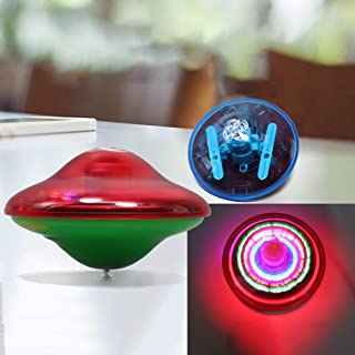 Peahop Spinning Top Toys Color Aleatorio UFO Music Gyro con luz LED Classic Flash Gyro Kids Toys Baby Toys