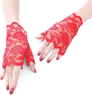 Women Bridal Short Lace Half Finger Party Dress Gloves,Red