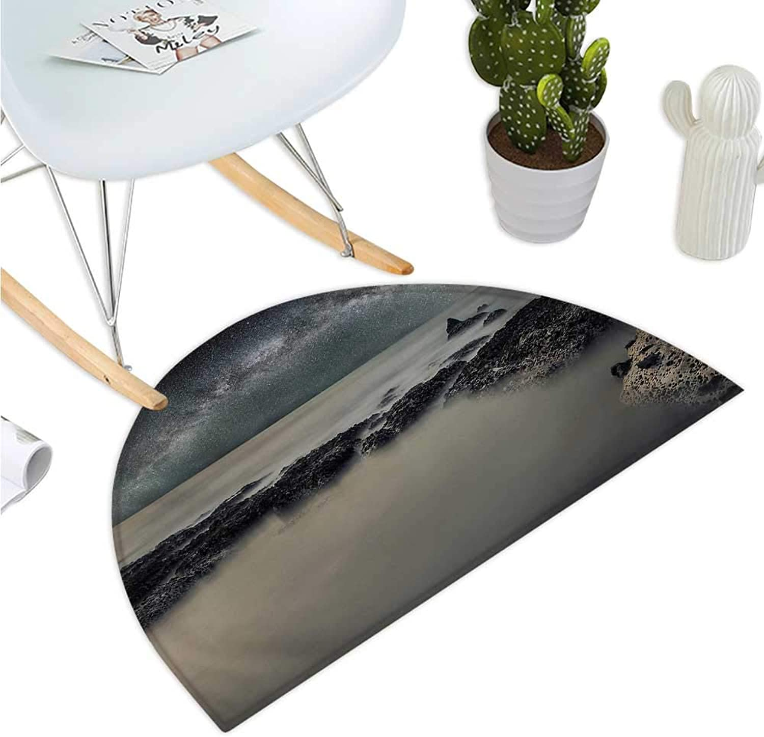 Space Half Round Door mats Rocky Surface of Planet in Outer Space with Milky Way Background No Life bluer Foggy Print Entry Door Mat H 39.3  xD 59  Grey