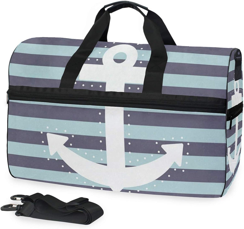 20b49c4ae0ea5 White Anchor Sports Gym Bag shoes Compartment Travel Duffel Bag for ...