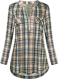2522dc74b Women Blouse TUDUZ Ladies Casual Rolled Sleeve Tunic Tops Zipped V-Neck  Plaid Printed Long