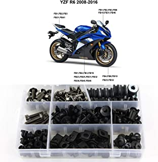 Xitomer Complete Bodywork Screws, for Yamaha YZF-R6 2008 2009 2010 2011 2012 2013 2014 2015 2016, Full Set Fairing Bolts/Washers/Nuts/Clips/Grommets (Titanium)