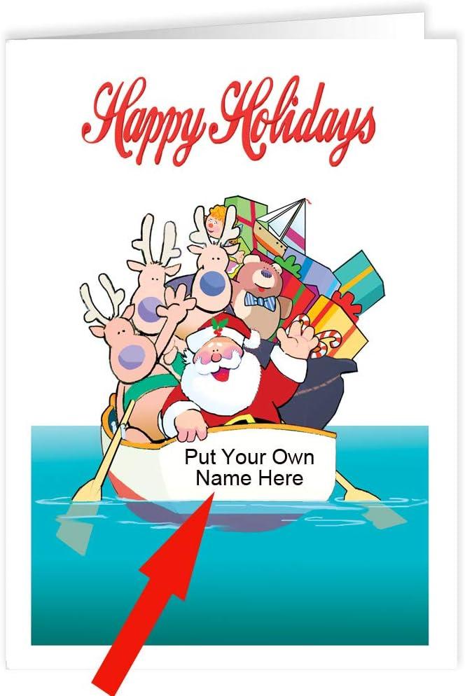 限定品 Custom Boating Christmas Cards - Santa small a boat 海外並行輸入正規品 row in 24