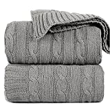 Throw Blanket Light Grey Chenille Cable Knit 100% Cotton Lightweight Soft Warm Cozy Sofa Couch Travel Accent Throw for Recliner Living Room Bedroom Luxury Decor Microfiber 50'x60' for All Seasons
