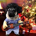 Idefair Funny Guitar Dog Costumes Pet Clothing Dog Clothes Suit for Puppy Small Medium Dogs Chihuahua Teddy Pug Christmas Party Halloween Costumes Outfit
