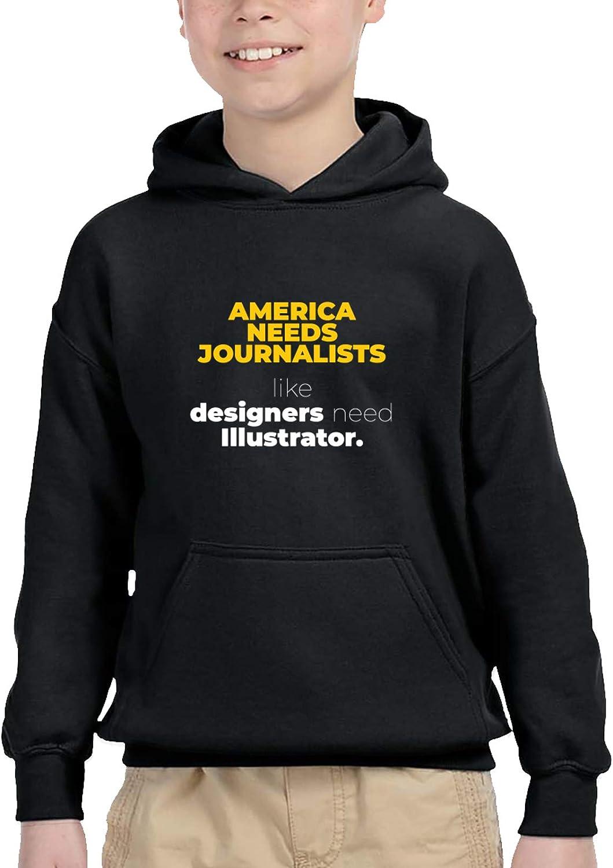 America Needs Journalists Kids Hooded Sweater Casual Sweatshirt For Baby Boys Girls