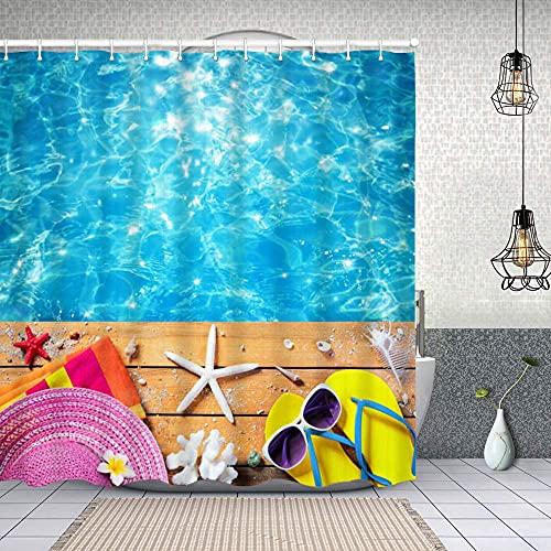 lovedomi Accesorios de playa de verano en fondo de la piscina, zapatillas...