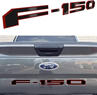 Arita Tailgate Insert Letters for Ford F150 2018 2019 2020-3M Adhesive & 3D Raised Metal Tailgate Decal Letters - Gloss Black with Red Border